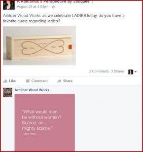 Rich Norton of Artificer Wood Works, shares a favorite quote about LADIES